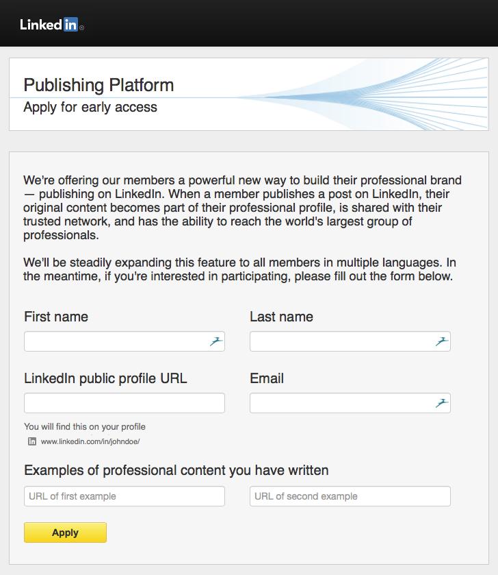 Formulaire de demande de publication d'articles sur LinkedIn